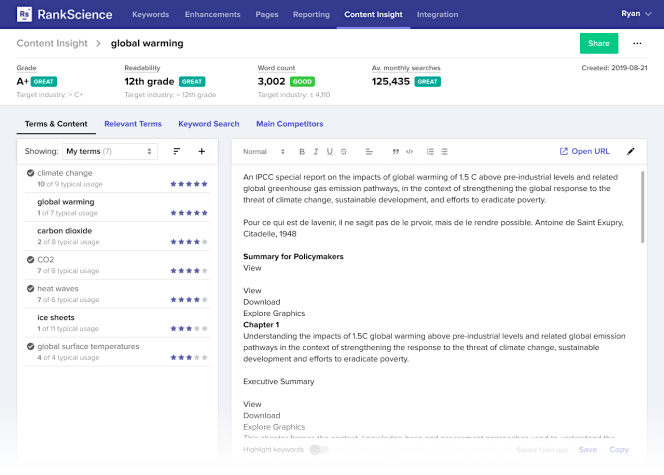 RankScience Content Insights page