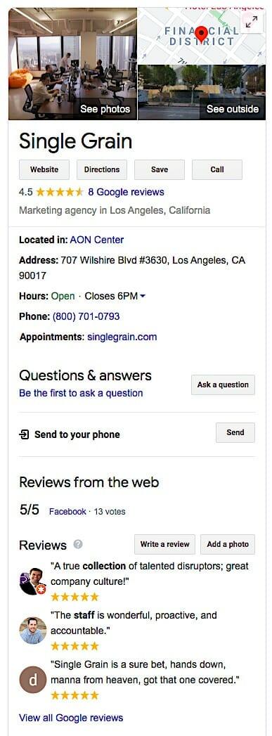 Single Grain Google My Business