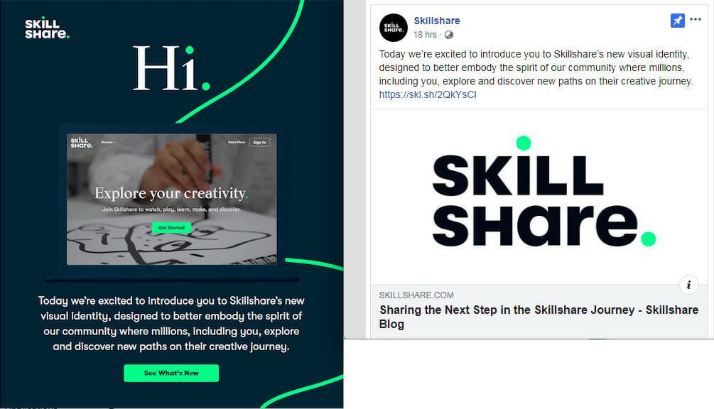 SkillShare omnichannel marketing - same message in email as social media