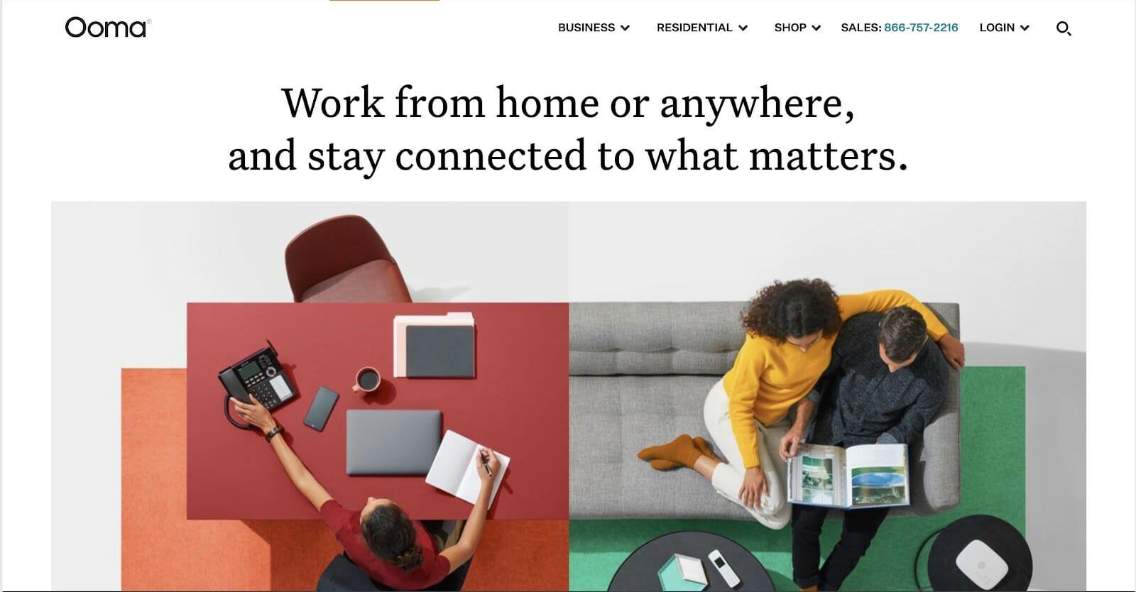 Ooma homepage