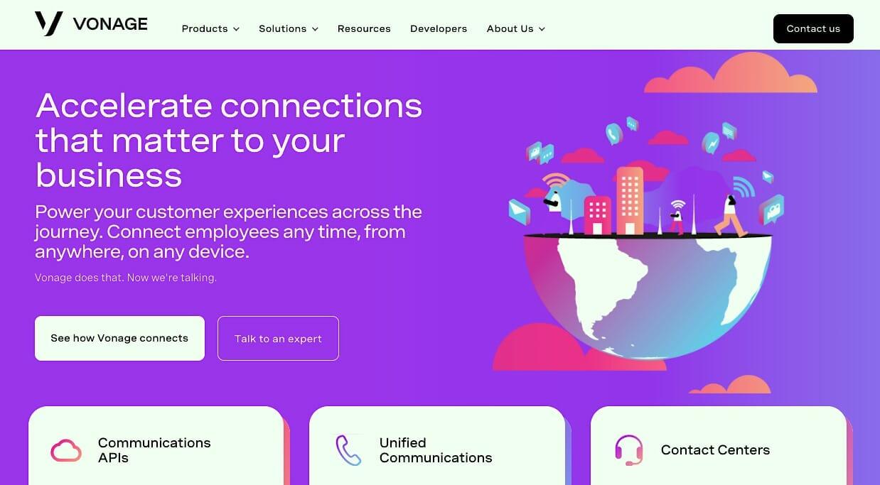 Vonage homepage