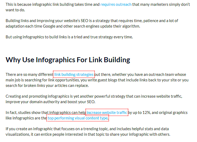 in-text example of nofollow link highlighted with Chrome extension tool