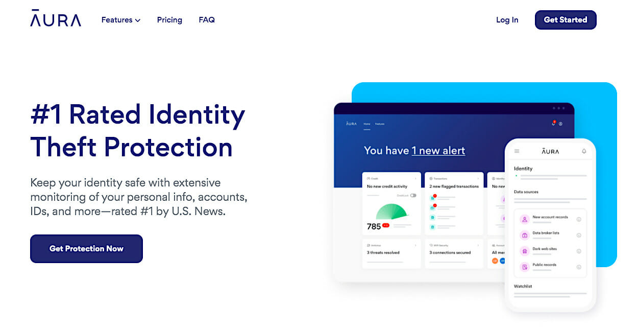 Aura home page