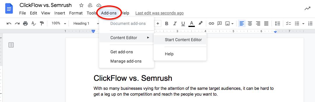 ClickFlow Google Docs add-on