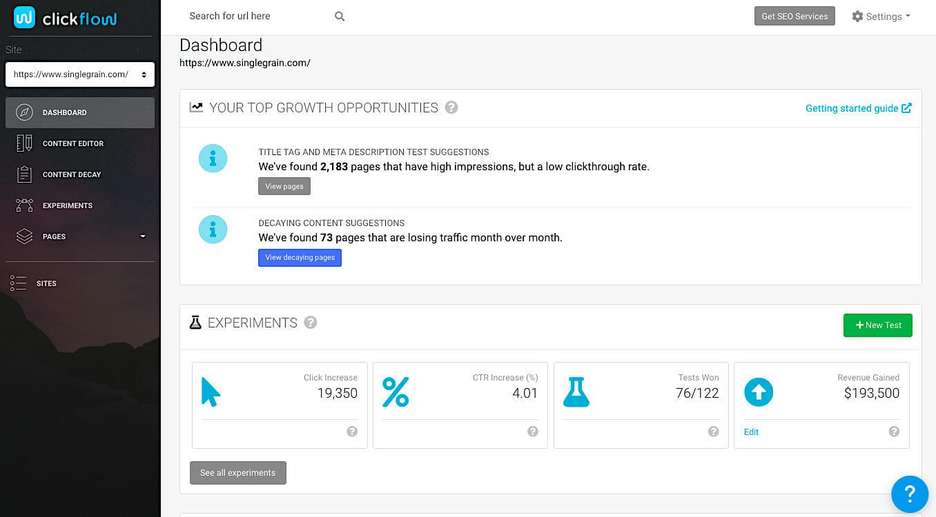 ClickFlow dashboard