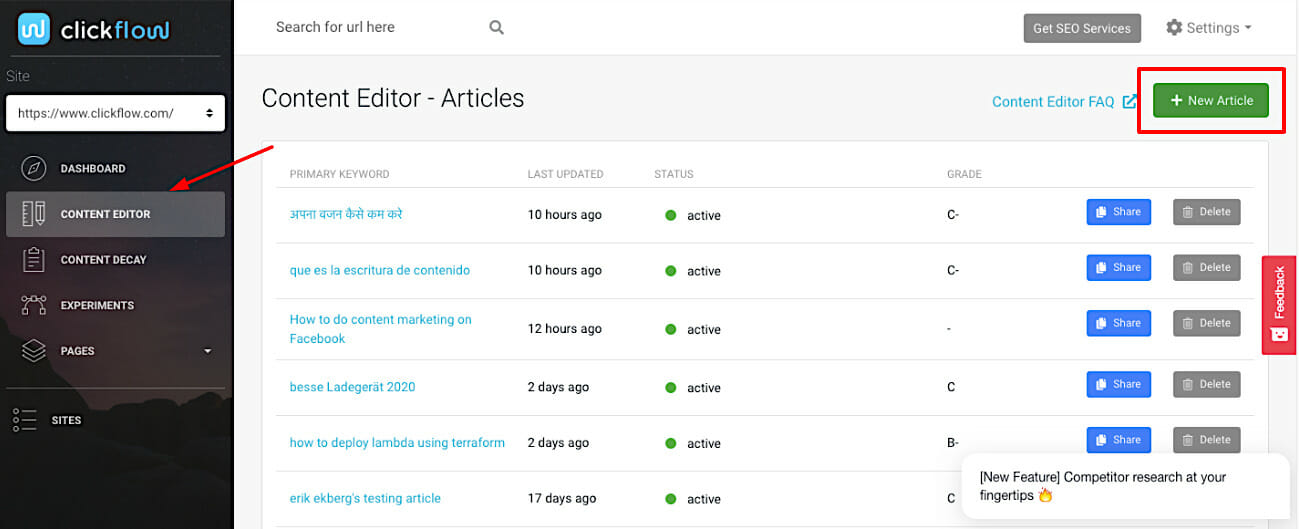 Content Editor New Article