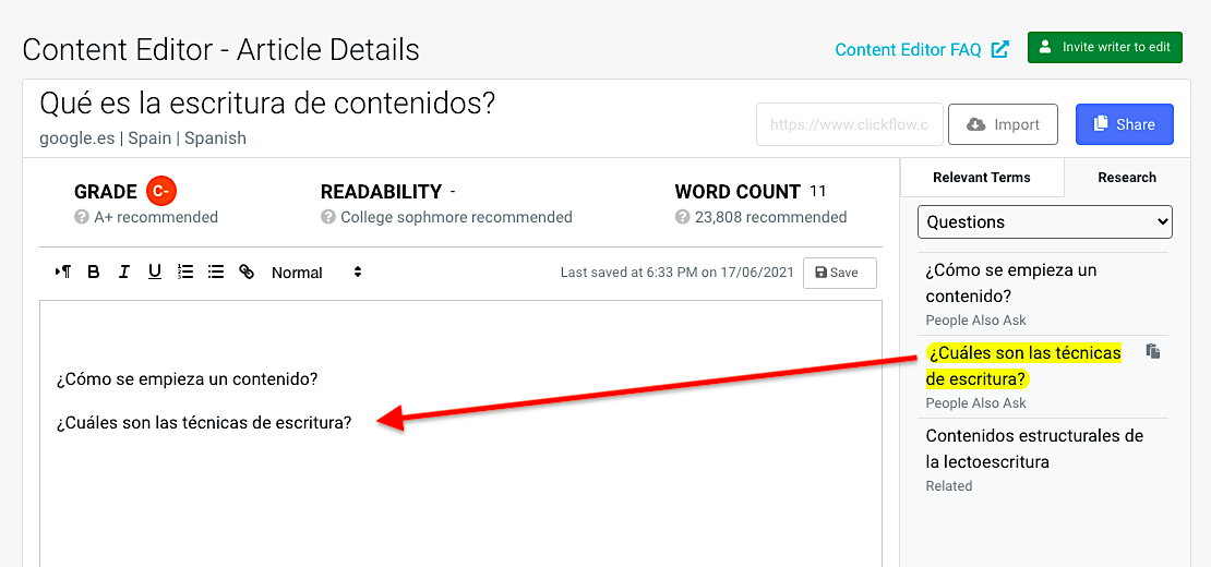Content Editor Spanish PAA