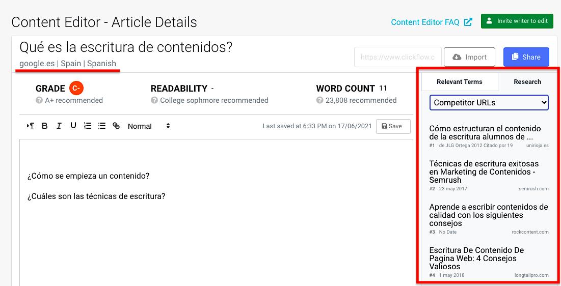 Content Editor Spanish URLs