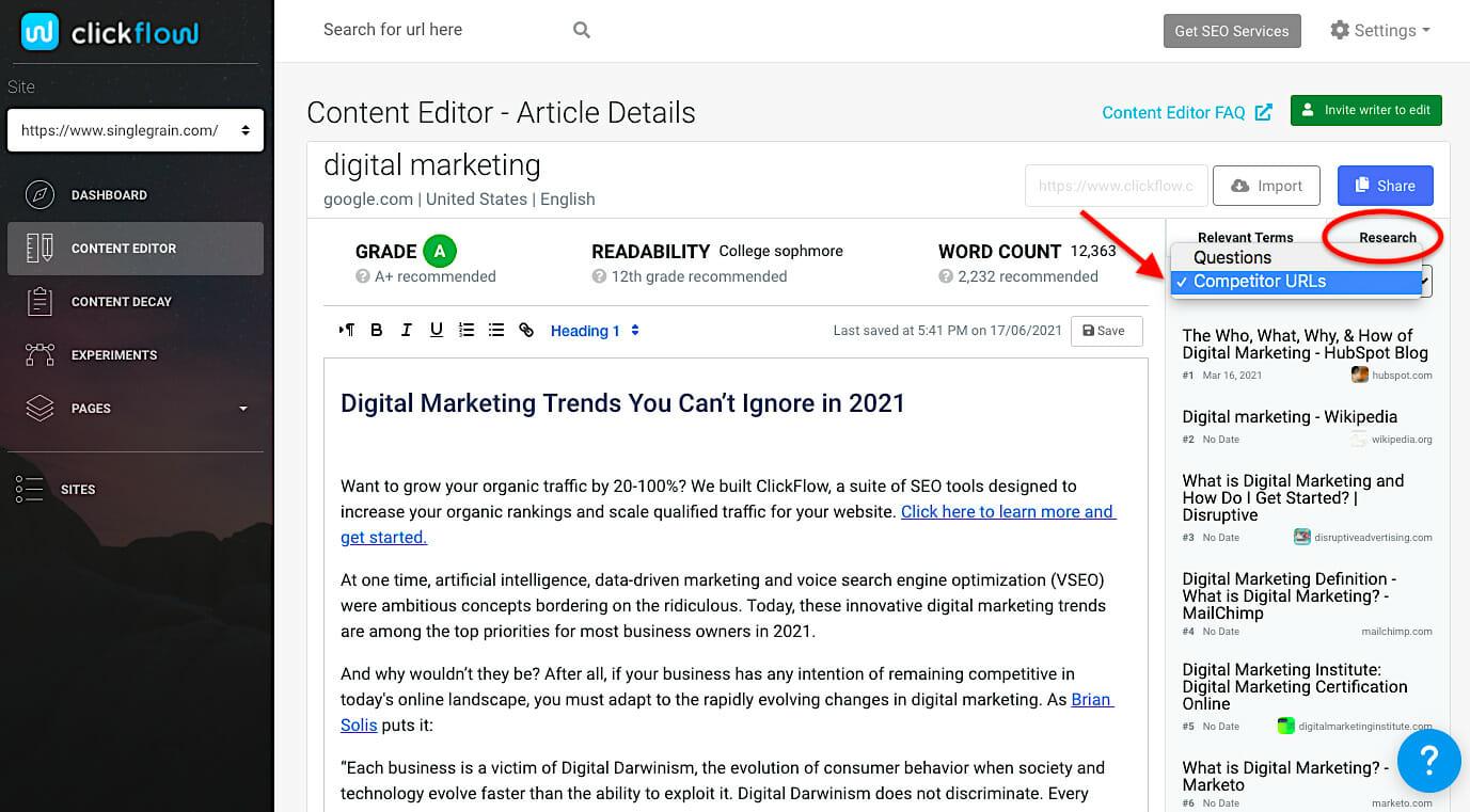 Content Editor competitor URLs