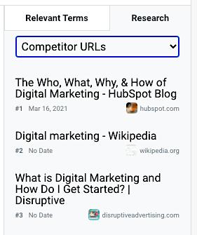 Content Editor competitor URLs cu