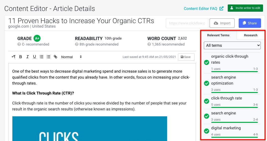 Content-Editor-relevant-keywords