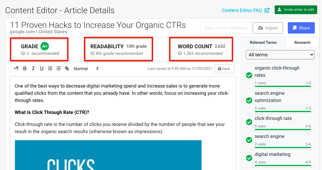 Content Editor - readability, word count, overall grade