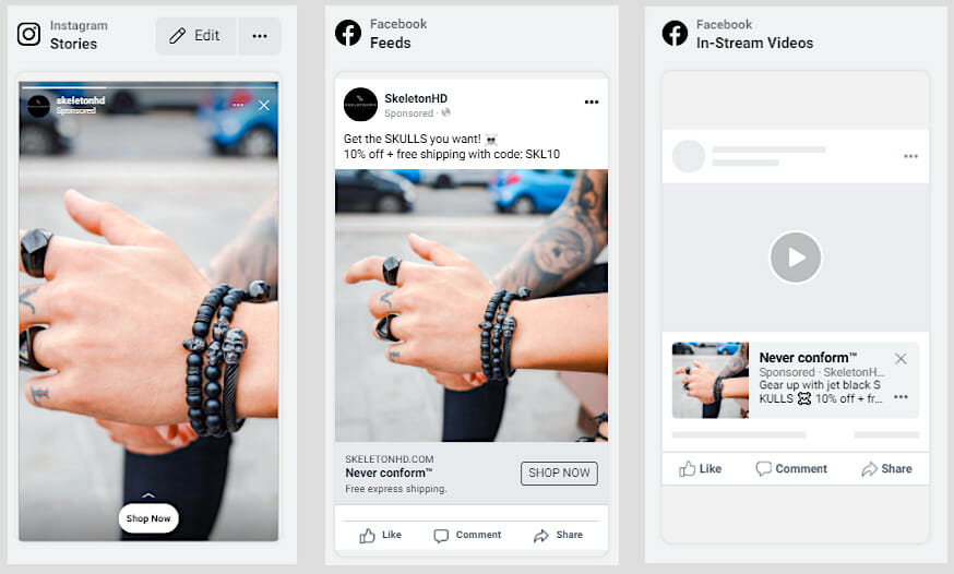 FB Ads media examples (stories, feeds, in-stream videos)
