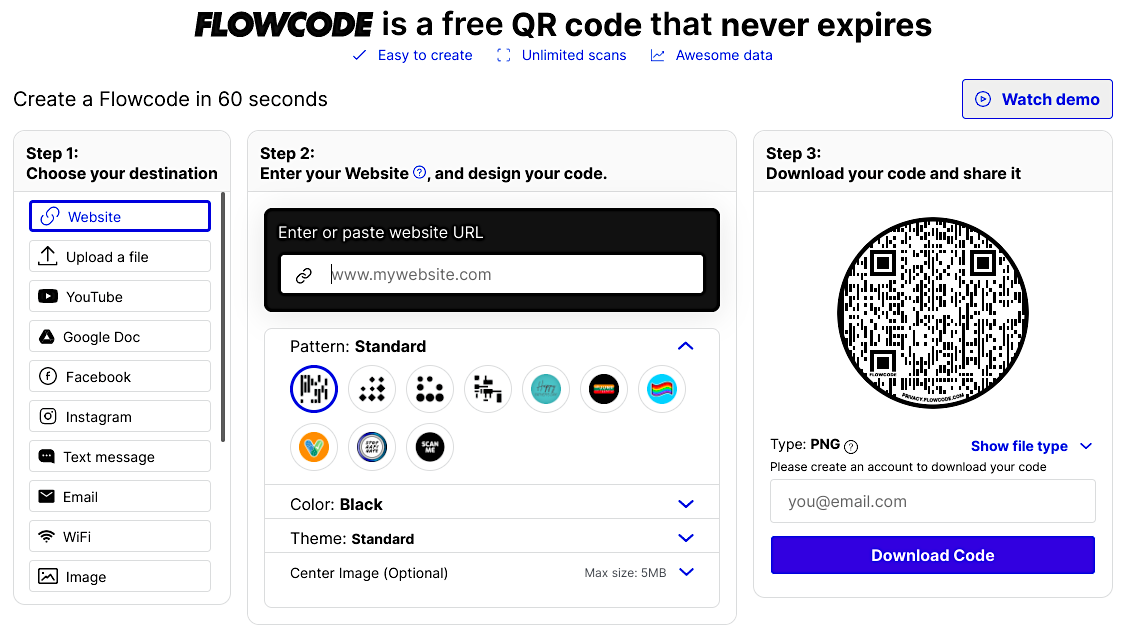 Flowcode - to create free QR codes