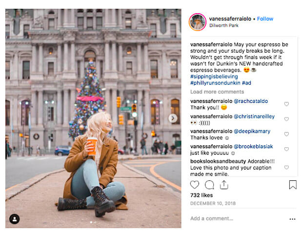 Instagram Dunkin Donuts campaign