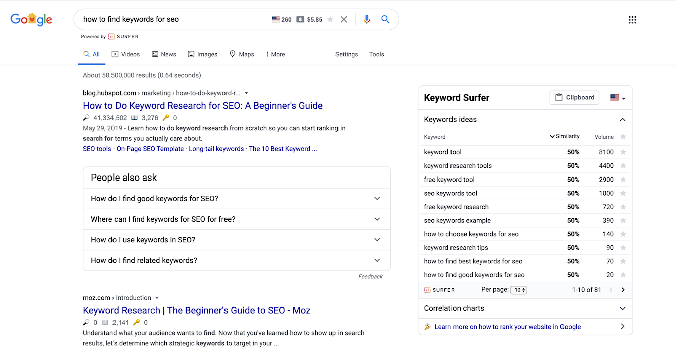 SurferSEO chrome extension
