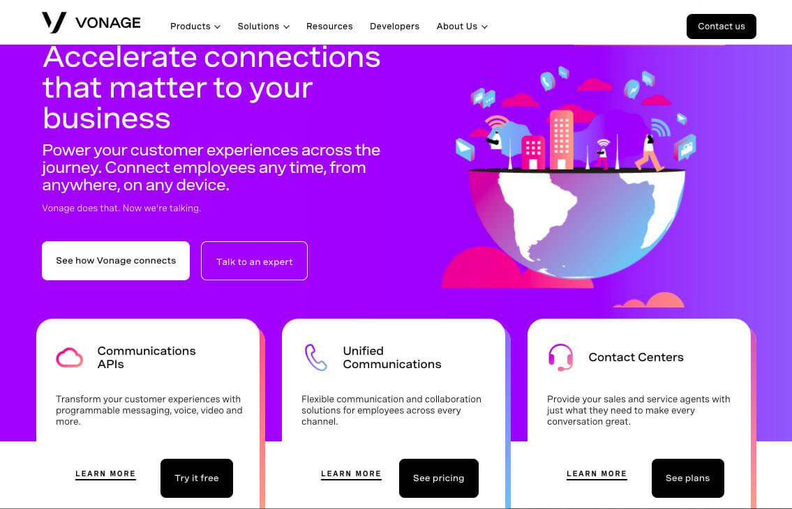 Vonage home page