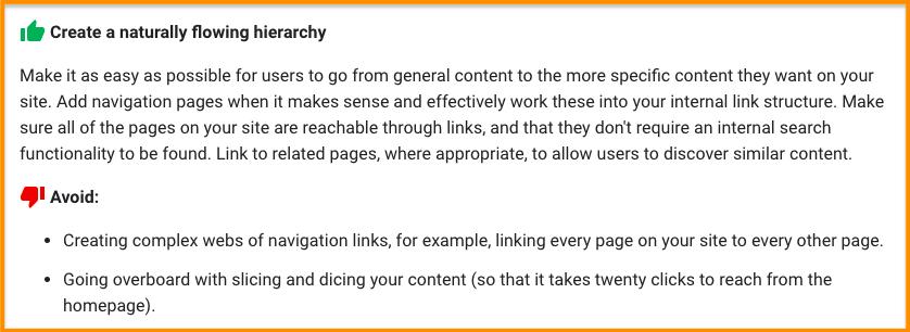 Google - internal links tip