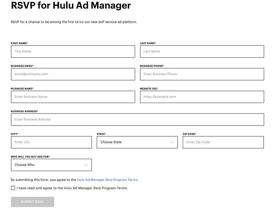 Hulu ad manager rsvp form