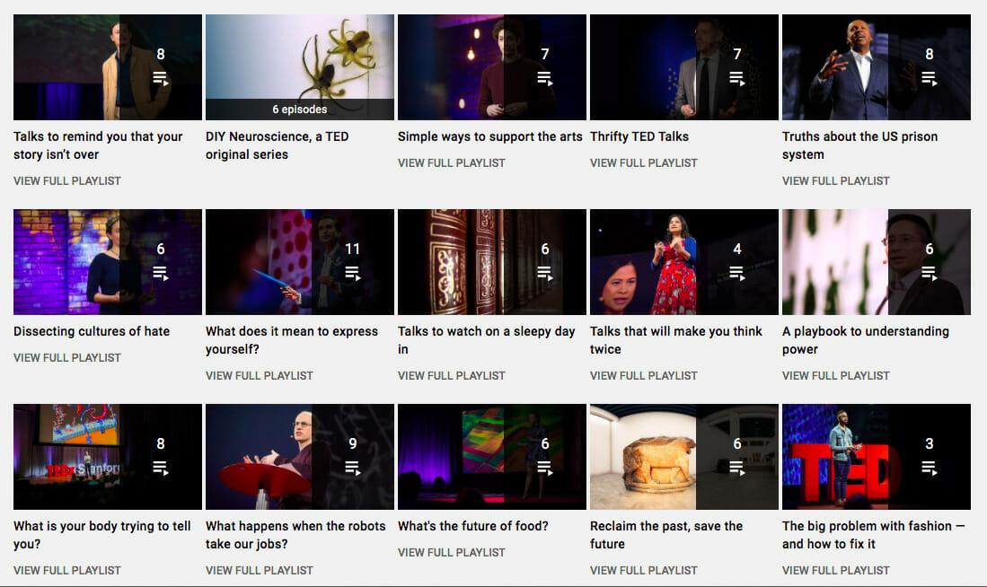 TED Talks YT playlists