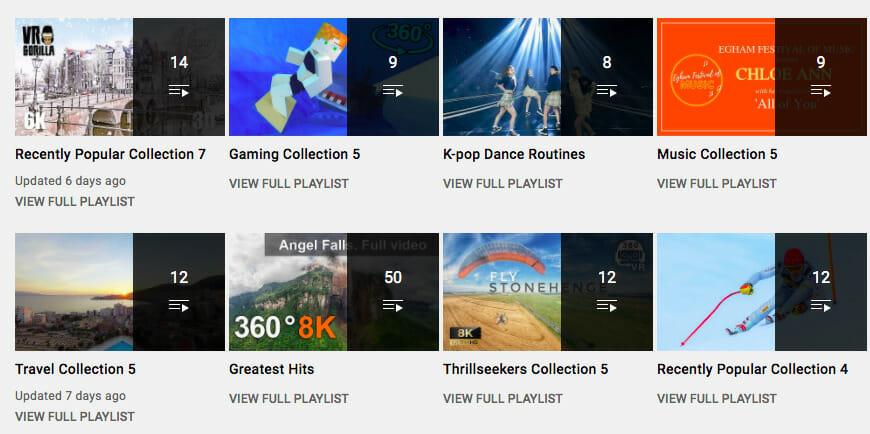 YouTube 360 video playlists