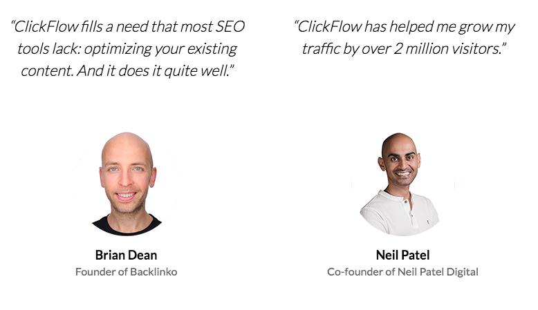 ClickFlow testimonials - Dean and Patel
