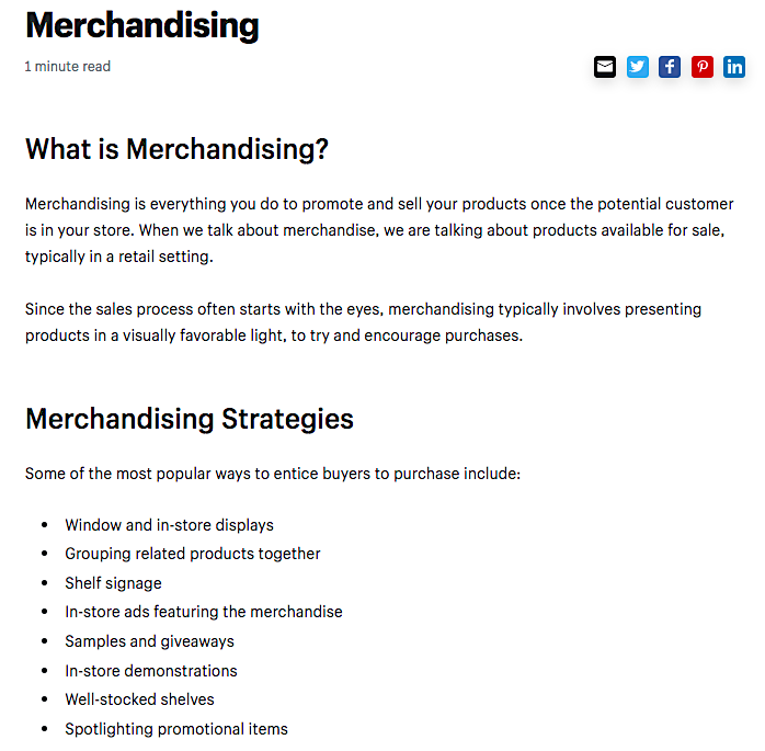 Shopify Merchandising glossary page